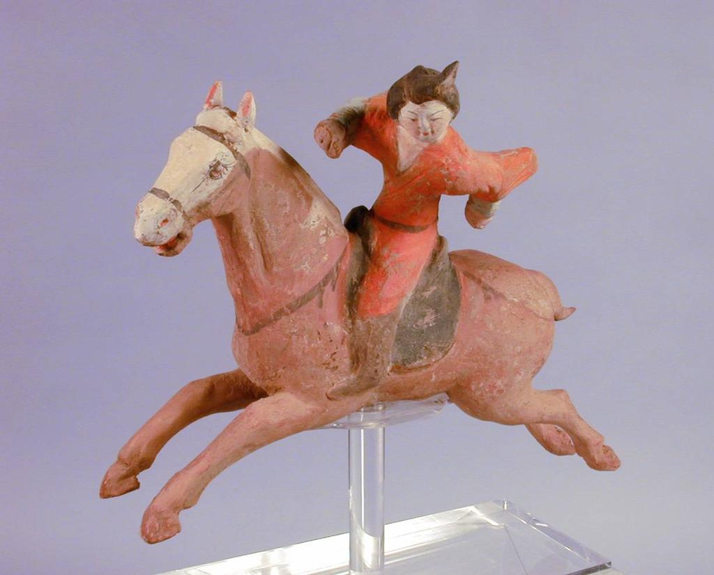 Polo Player China, Tang Dynasty (618-906 CE) Earthenware. Pigment 11 H x 13 W x 3.
