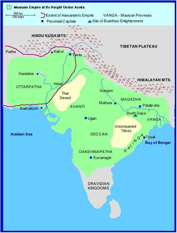 India Mauryan Empire 1 What areas of India did the Aryans spread into? How do we know about this spread of the Aryans?