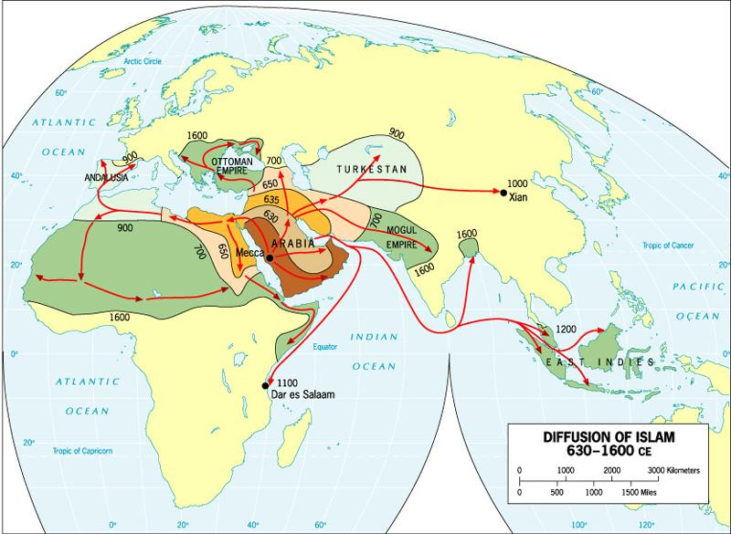 Islam originated on Arabian peninsula about 1500 years ago.