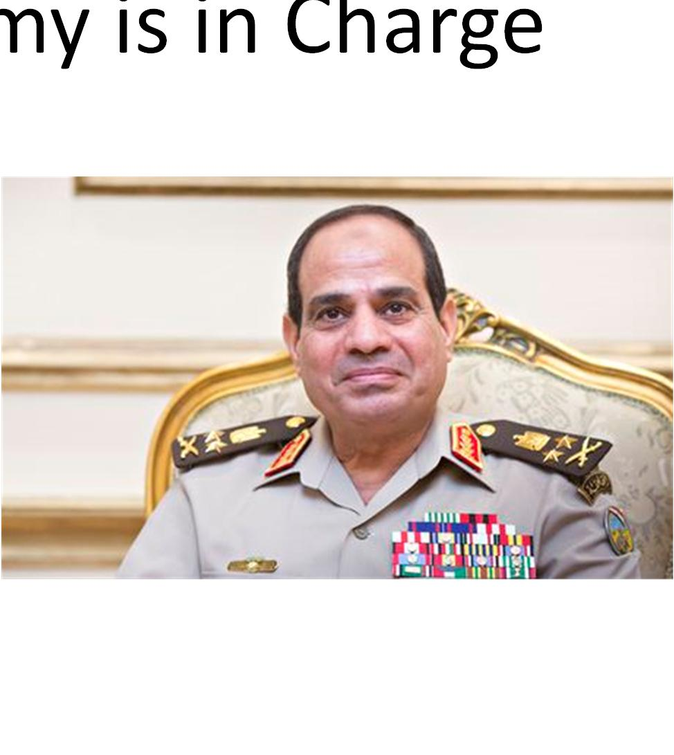 Egypt The Army is in Charge President Sisi is fourth autocrat from the Army elected President Existential struggle between Army and MB Army winning Terrorism emanating from Sinai threatens