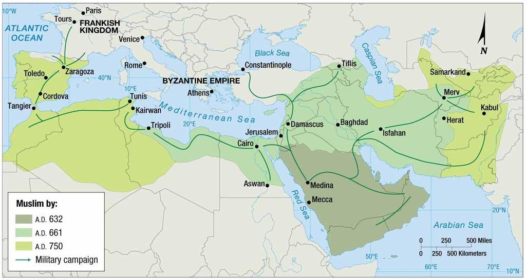 ISLAM MUHAMMAD S SUCCESSORS ORGANIZED FOLLOWERS INTO ARMIES AND LED A CONQUEST TO SPREAD THE RELIGION OVER AN EXTENSIVE AREA OF AFRICA ASIA