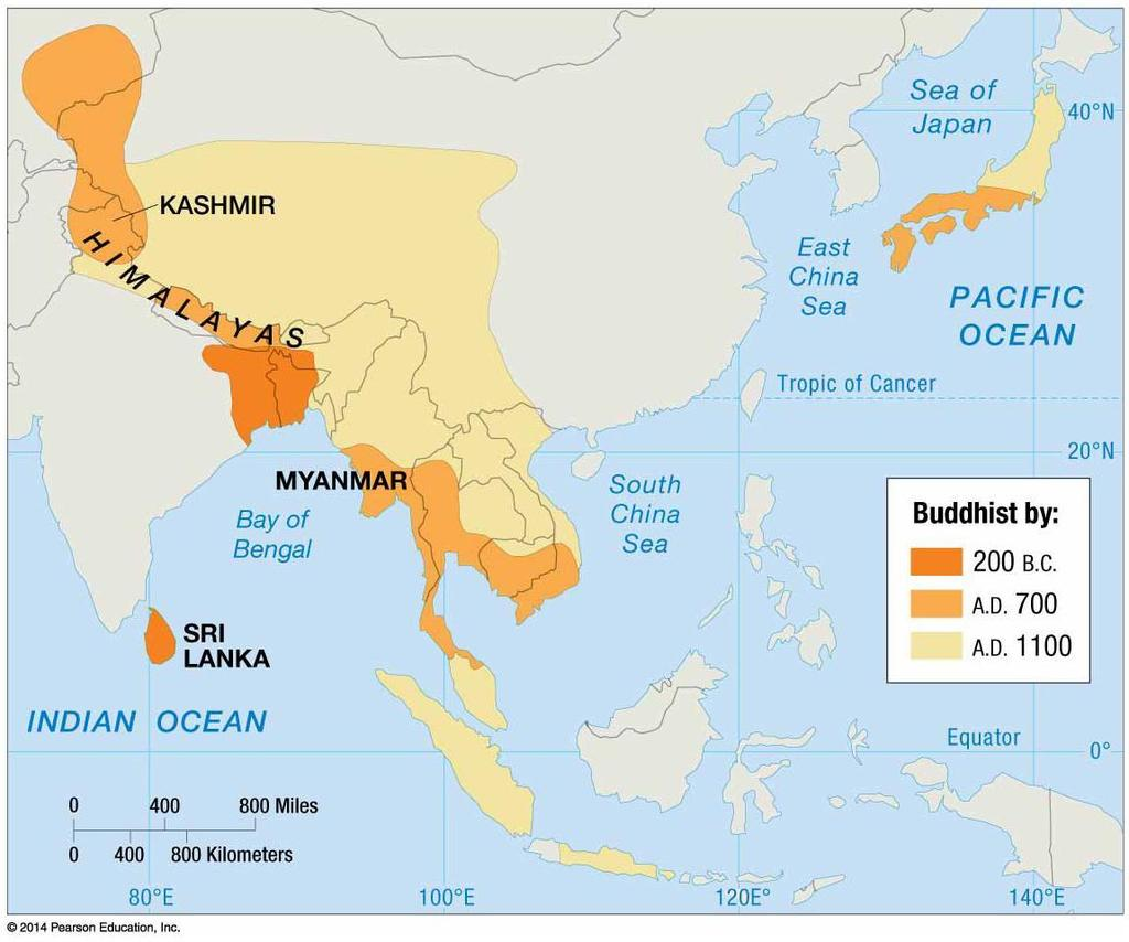 BUDDHISM DIFFUSED RELATIVELY SLOWLY FROM ITS ORIGIN IN NORTHEASTERN INDIA.