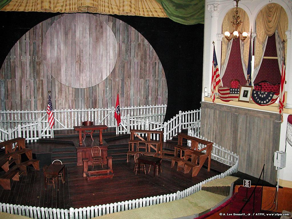 Near the middle of the play Booth snuck up to the presidential box and shot Lincoln in the