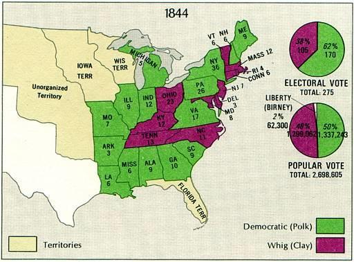 Election of 1844 Whig candidate Henry Clay opposes annexation Polk wins the