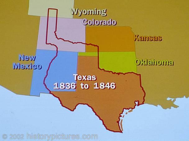Republic of Texas, 1836-1846 The land area governed by the Republic of Texas was much larger than the eventual state of Texas,