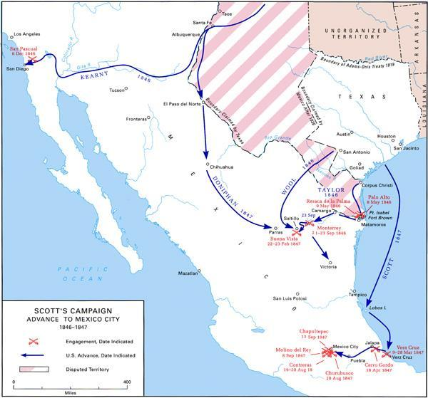 U.S. army of occupation, Texas 1845 Sends troops under the