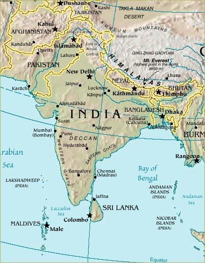 The Subcontinent Huge peninsula Pushes out into the Indian