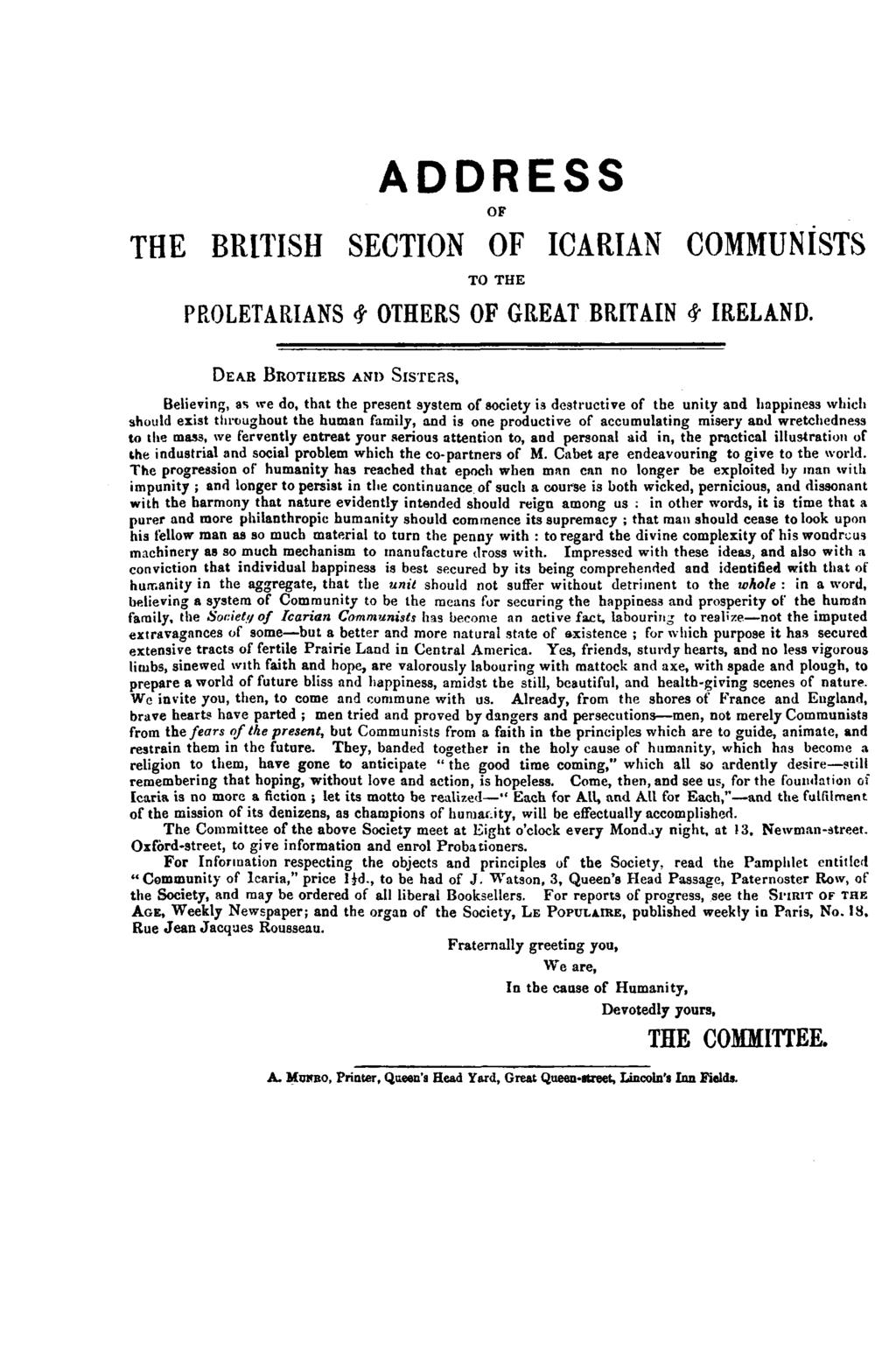 THE BRITISH ADDRESS OF SECTION OF ICARIAN COMMUNISTS TO THE PROLETARIANS # OTHERS OF GREAT BRITAIN <$ IRELAND.