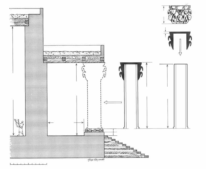 Rose Guide to the Temple HARMONIZING 1 KINGS 7:15-16 WITH 2 CHRONICLES 3:15 The two bronze pillars were 18 cubits (27 ft; 9 m) high and topped with decorative capitals. The decorative 5-cubit (7.