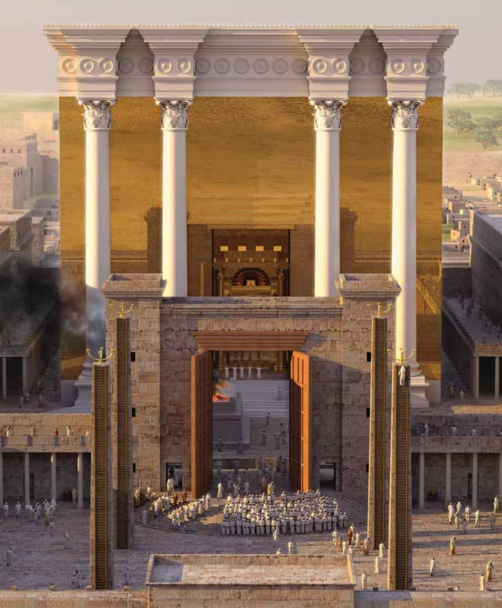 The Second Temple Pictured at the bottom center is the Court of the Women with the great lampstands that burned day and night and the bronze Nicanor Gate opened and looking into the Court of the