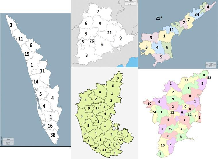 E. The South The states here are Karnataka, Kerala, Tamilnadu, Andhra Pradesh and Telangana.