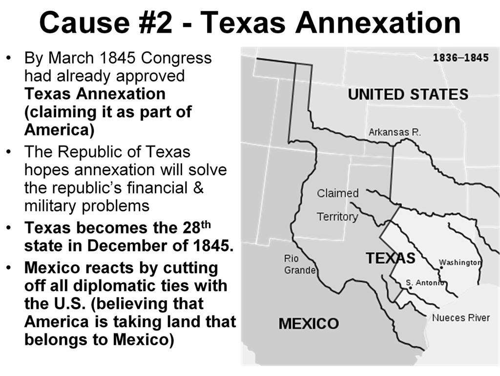 Explain why the United States annexation