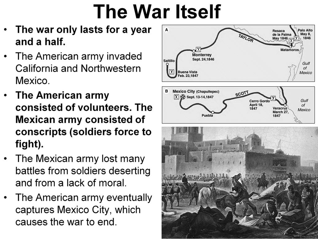 Explain howquickly the war lasted and why the United States was more successful.
