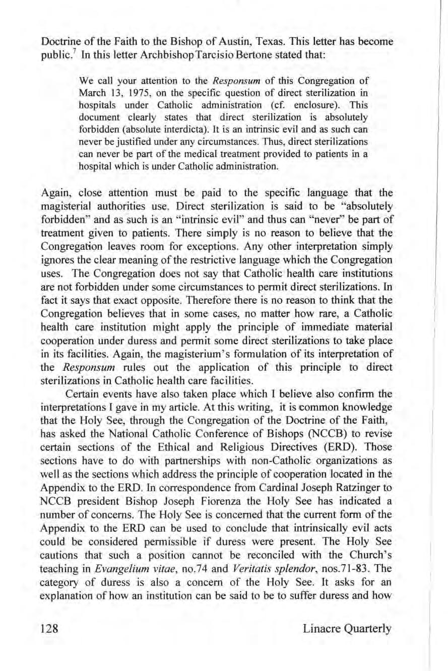 Doctrine of the Faith to the Bishop of Austin, Texas. This letter has become public.
