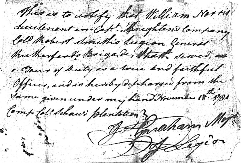given under my hand November 18 th 1781 Camp Col. Shaw's plantation. S/ Jos.