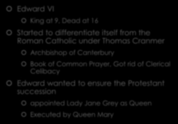 Edward VI and Thomas Cranmer Edward VI King at 9, Dead at 16 Started to