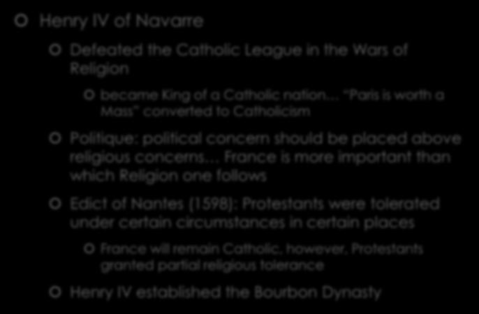 more important than which Religion one follows Edict of Nantes (1598): Protestants were tolerated under certain circumstances in
