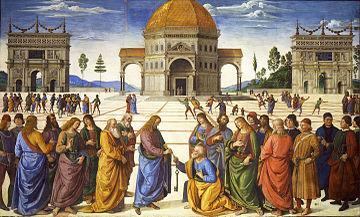 Delivery of the Keys, Perugino Peter becomes Christ s