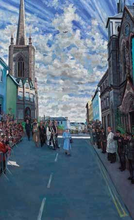 Peter O Reilly, PP, VG, officially welcomed the Queen. To commemorate such a significant event, a painting was commissioned by Rt. Rev. Monsignor Peter O Reilly.