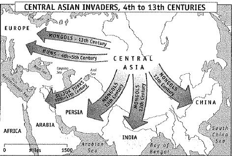 The Huns, repelled by the Chinese emperors, invaded Europe and contributed to the collapse of the Roman Empire. Later, the Turks and Mongols also came out of Central Asia.