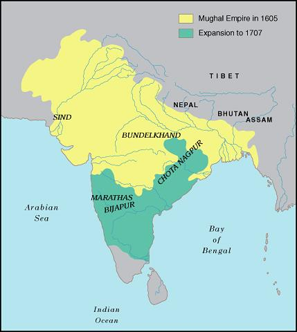 Descendants of the Mongols, the Muslin Mughal Rulers established an empire in Northern India and traded with the European nations.
