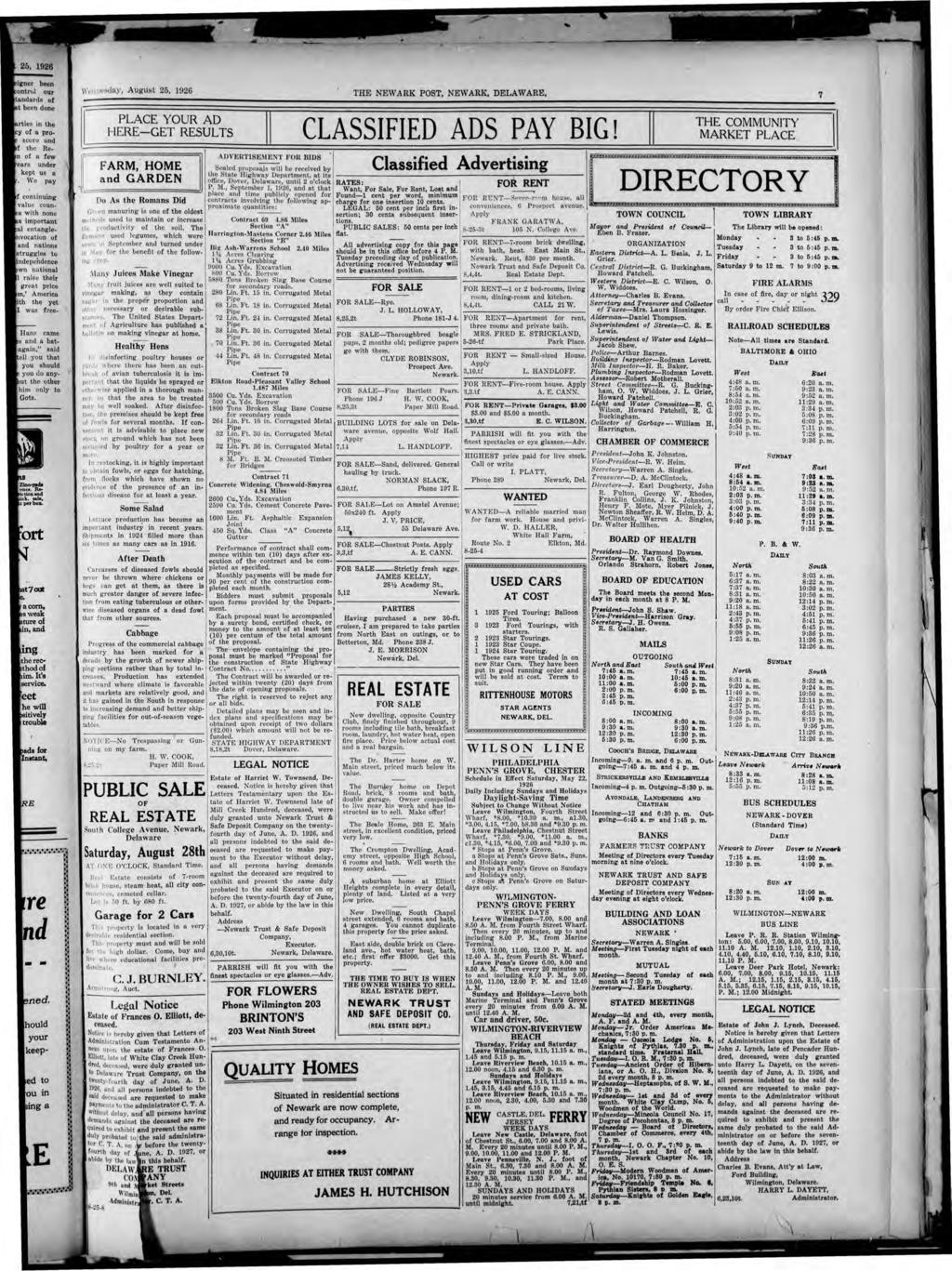 to \\'t c!n sc1ay, Augu t 25, 1926 THE NEW A RK POST, NEW ARK, DELAWARE. 7 PLACE YOUR AD HERE-GET RESULTS CLASSFED ADS PAY BG!