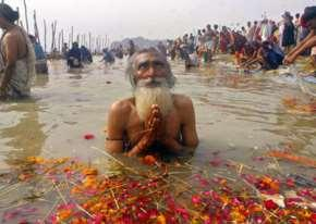 pilgrims come to bathe, scatter ashes of dead at sacred site of Varanasi they gather