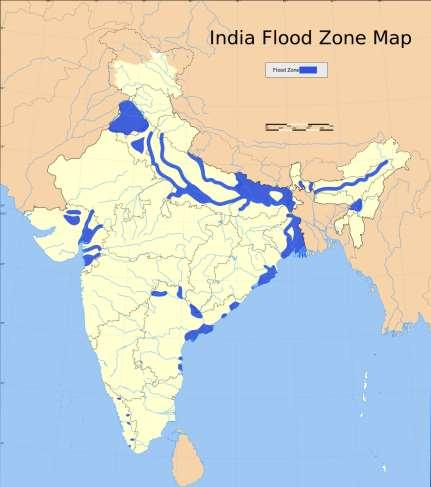 Physical process responsible for creating flood zones are silt deposits along the major river