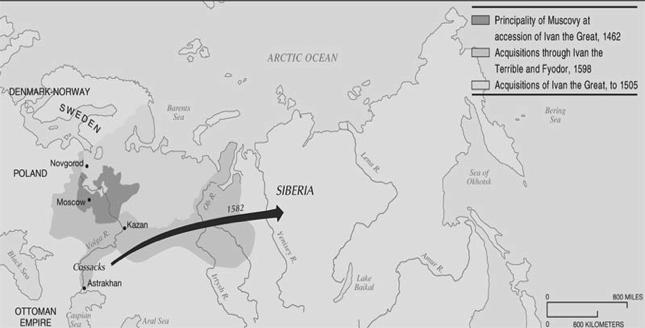 Russian Expansion Under the Early Tsars From its base in the Moscow region, Russia expanded in three directions (N; W; S); the move into Siberia under Ivan the Terrible