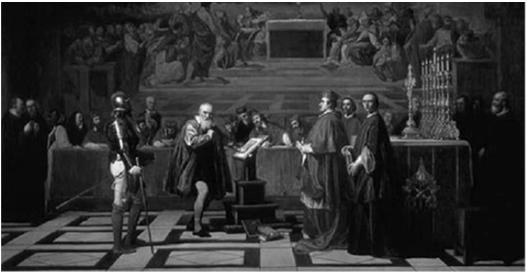 Galileo was forced to renounce his belief that the earth moved around an orbit and rotated on its axis c.
