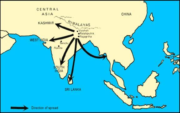 Theravada Buddhism established new trends in Buddhist art D. Mahayana Buddhism held to the Buddha s original teachings Look at the map of the Mauryan empire.