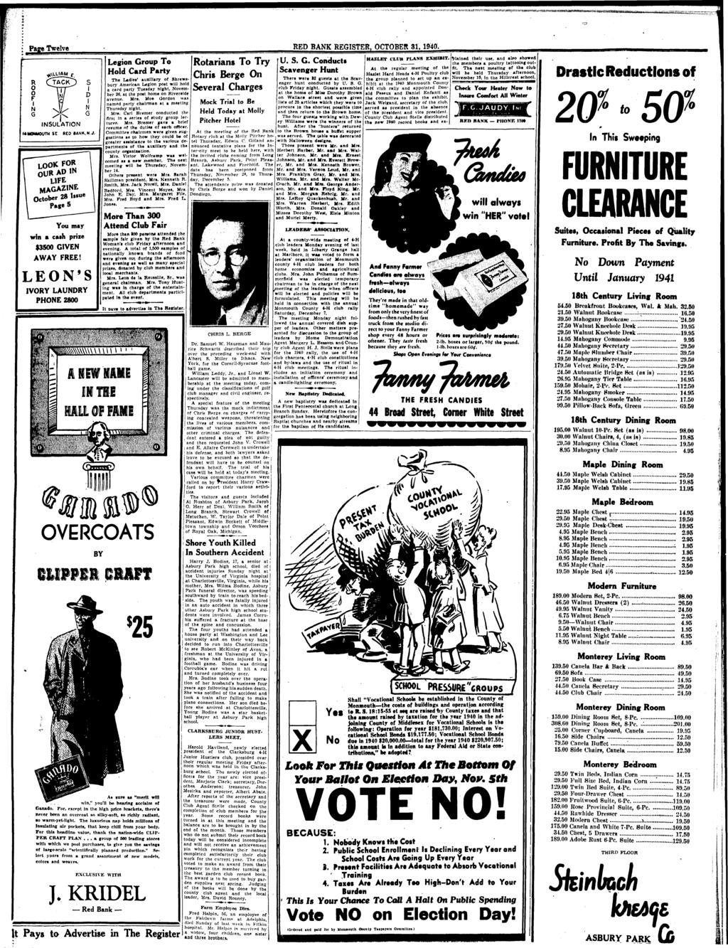 Page Twelve RED BANK REGISTER, OCTOBER 31, 1940. INSULATION S I D I N G I4M0NM0UTH St RED BANK, N. J. MAGAZINE October 28 You may win a cash prize $3500 GIVEN AWAY FREE!