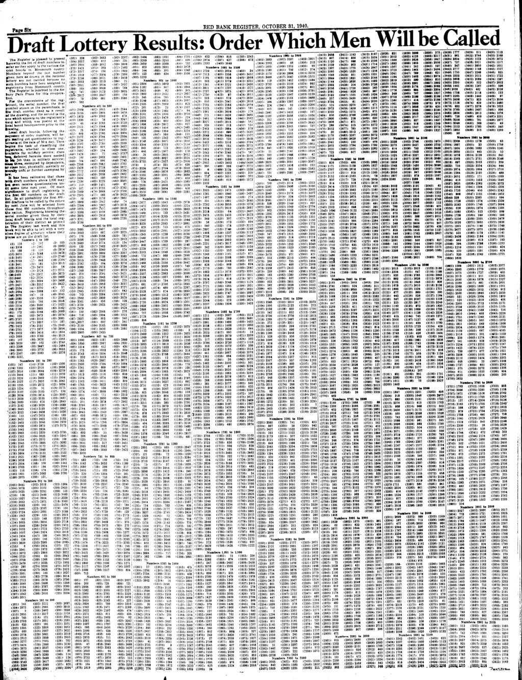 ei RED BANK REGISTER. OCTOBER 31, 1940. Draft Lottery Results: Order WhichMen...'.«,.,»; ^ T n T,,8S5)14IU (««3)iO9i,884)1751,(1393)632 (1394)815 (1395)3343, Number.
