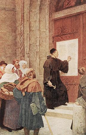 On October 31, 1517 a German monk named Martin Luther posted his 95 Theses on the Wittenberg Church door.