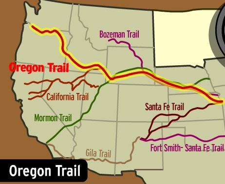 Large numbers of pioneers began moving along the Oregon Trail to the fertile land