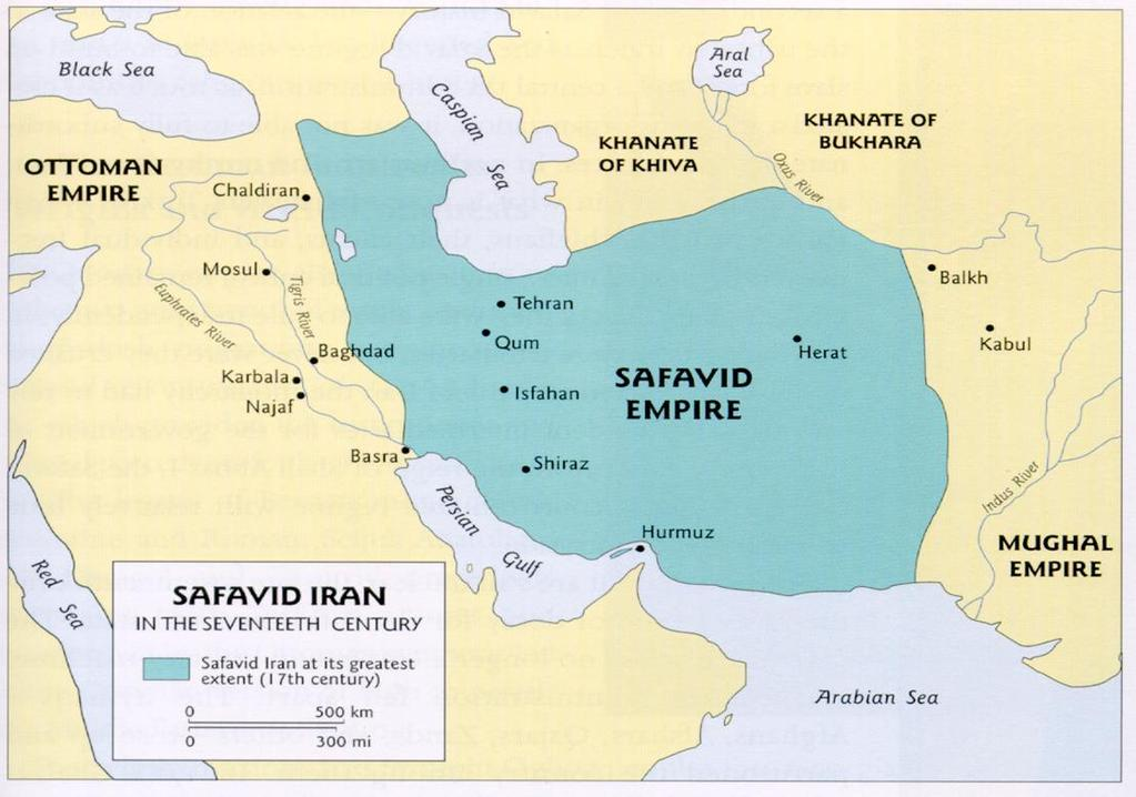 The Safavid Empire (present day Iran) was sandwiched between Ottomans and