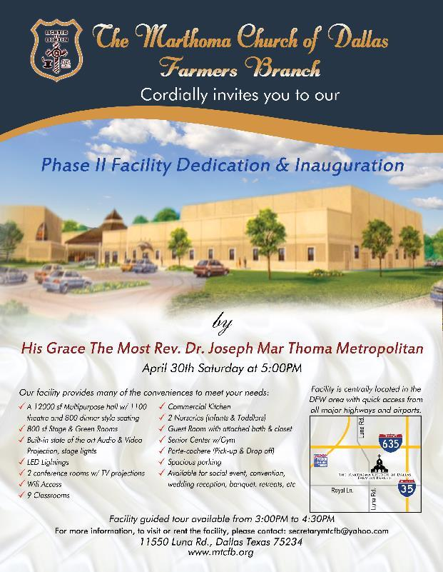 Facility Dedication & Inauguration Southwest Region Center A Yuvajana Sakhyam is organizing a Half day retreat on April 23rd Sat from 10:00 am to 12.30 pm at MarThoma Church of Dallas Farmers Branch.