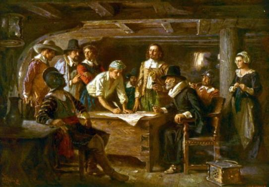 Pilgrims/Separatists Left England to secure religious liberties; landed at Plymouth, MA - 1620 Mayflower Compact: signed onboard by all 41 men of colony - Agreement to comply with whatever laws they