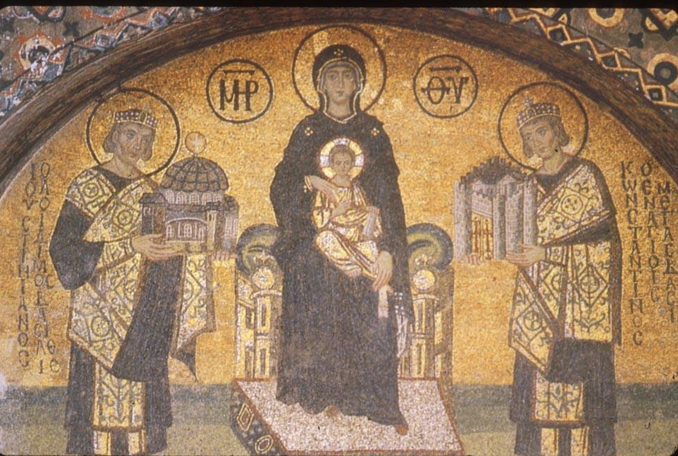 Mosaic depicting Justinian (left) presenting model of church of Hagia Sophia to