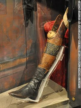 Santa Anna's real leg was amputated after he was hit by cannon fire during a melee with the French in 1838 (the leg was interred with full military honors).