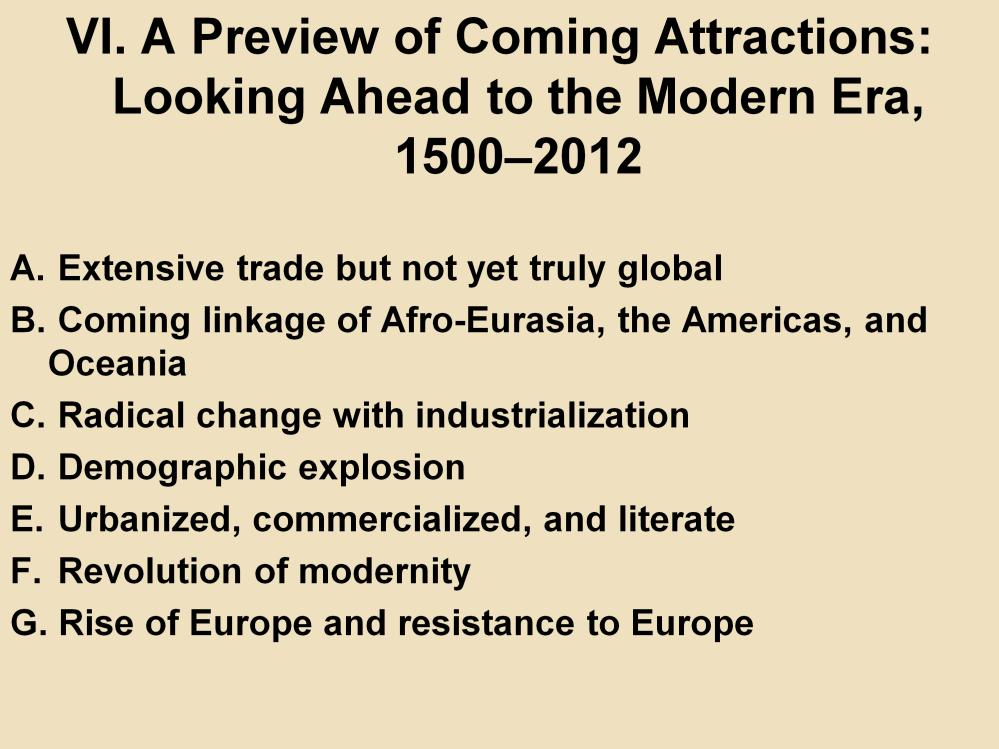VI. A Preview of Coming Attractions: Looking Ahead to the Modern Era, 1500 2012 A.