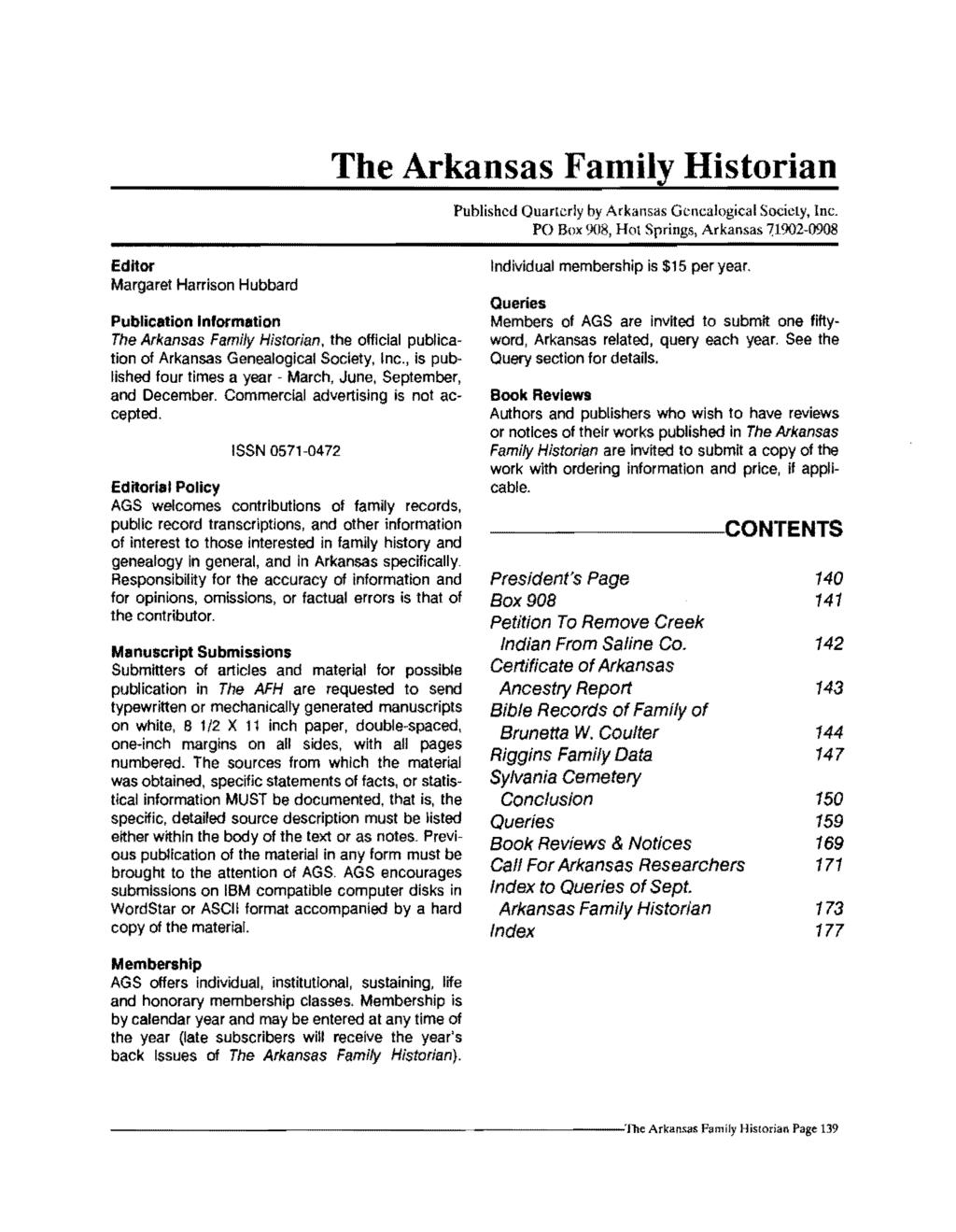 The Arkansas Family Historian Published Quarterly by Arkansas Genealogical Society, Inc.