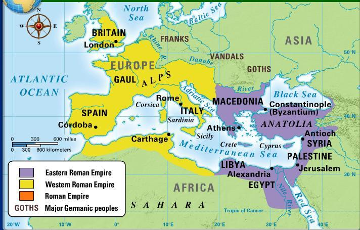 Factors that lead to the Rise of the Byzantine Empire Roman Empire is divided.