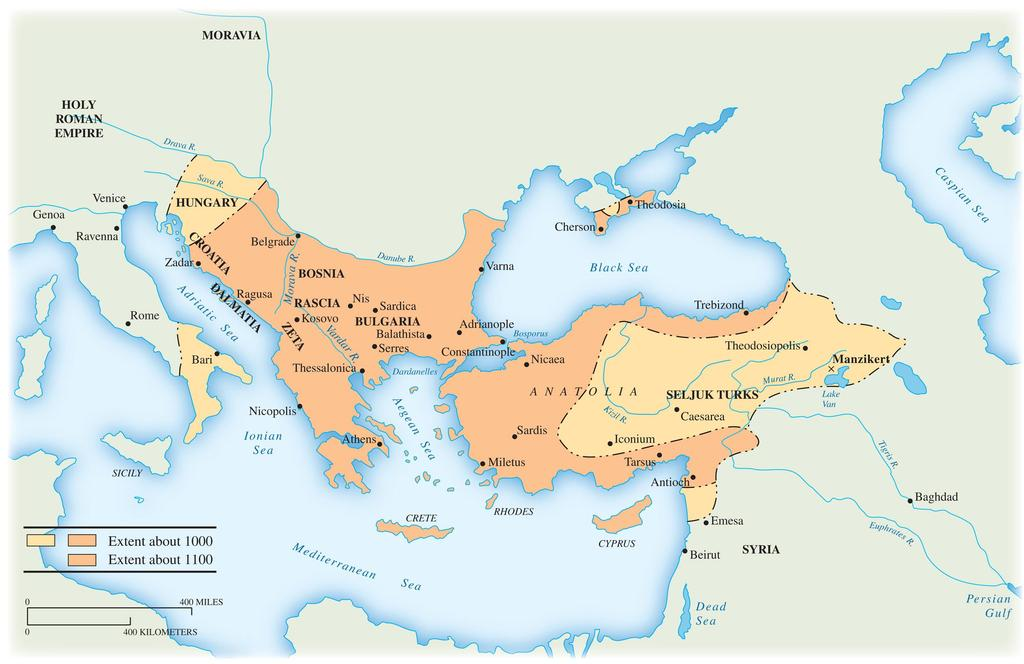 Map 10.2 The Byzantine Empire, 1000 1100 The Byzantine empire went from a major to a minor power in the period portrayed on this map.