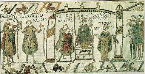 Crowning of Harold, Edward s brother-in-law, as king; Normans