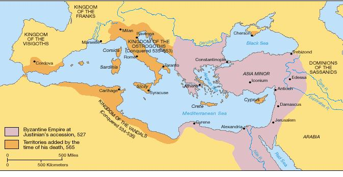 About 50 years after the fall of Rome, Byzantine Emperor