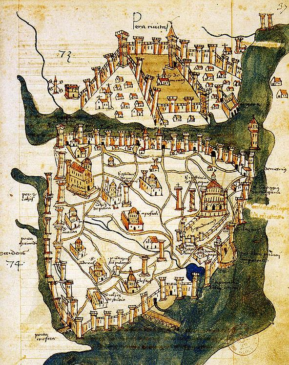 Heavily fortified the capitol Constantinople Public Works Aqueducts, Baths, Courts, Schools,