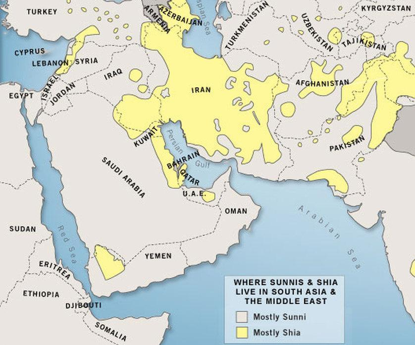 Where The Shia majority countries are Iran, Iraq, Bahrain, and Yemen where they are the largest