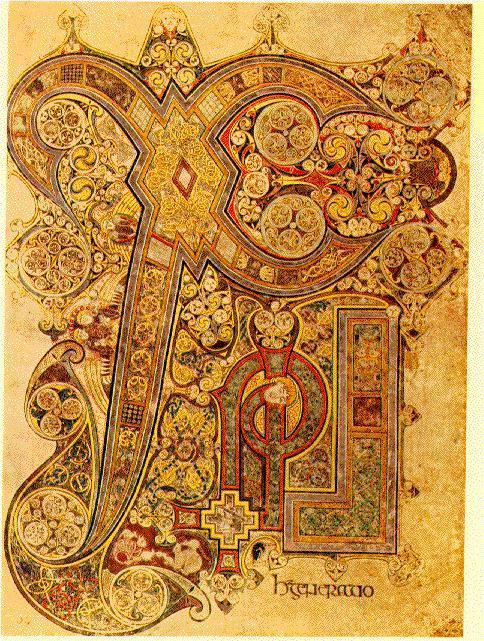 Book of Kells Anglo-Saxon (British) and Irish-Celtic art can be seen in books.