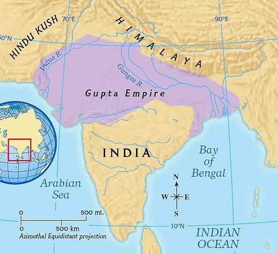 The next great empire in ancient Indian history was the Gupta Empire (about 280 A.D.